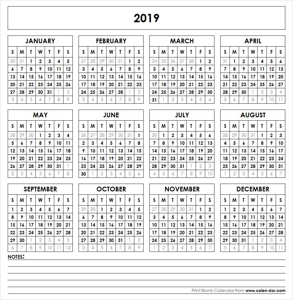 2019 Printable Calendar | Yearly Calendar | Yearly Calendar within Pocket Printable 2019-2020 Calendar Free