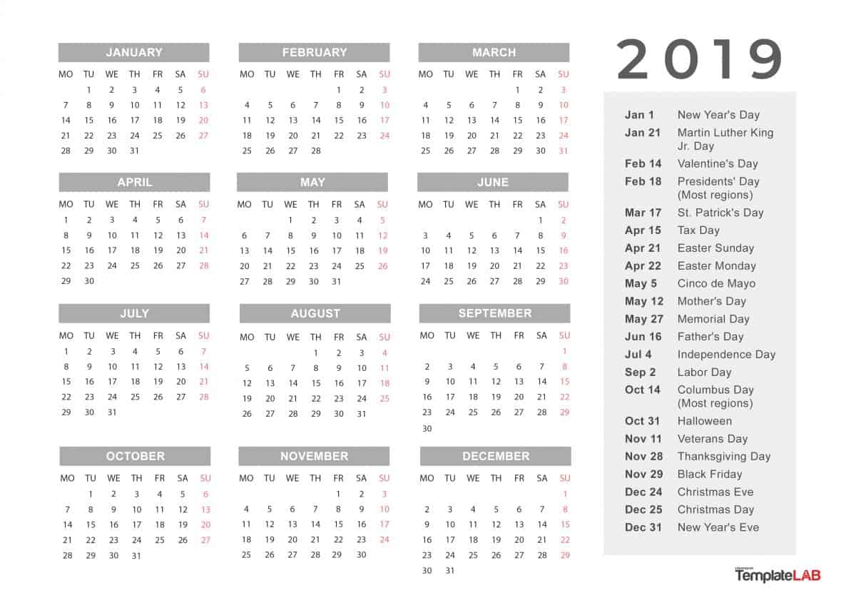2019 Printable Calendars [Monthly, With Holidays, Yearly] ᐅ in Printable Year Calendar 2019 - 2020 With Space To Write