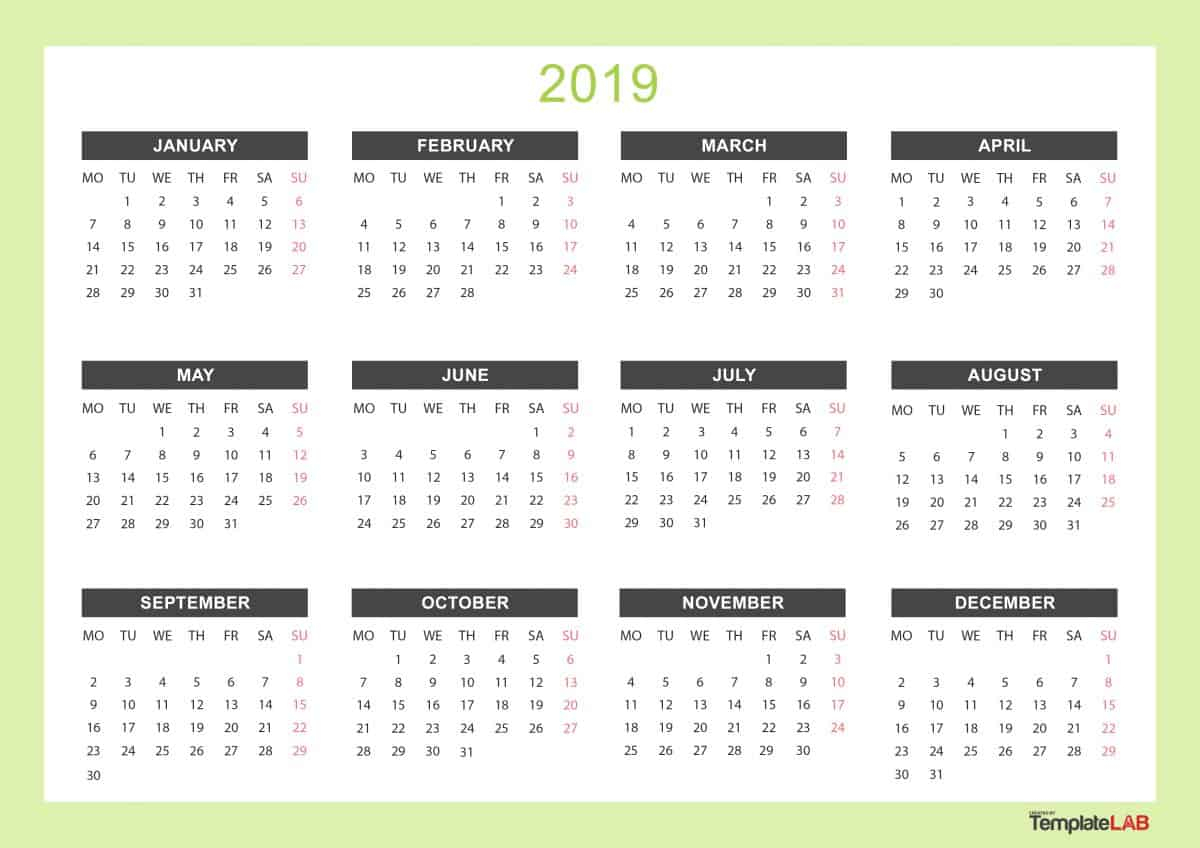 2019 Printable Calendars [Monthly, With Holidays, Yearly] ᐅ inside Blank Year At A Glance Calendar Template