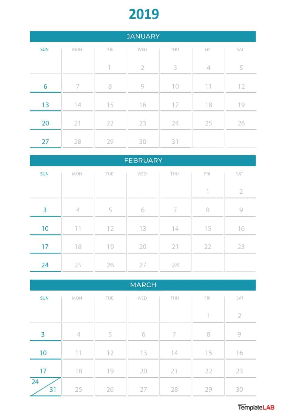 2019 Printable Calendars [Monthly, With Holidays, Yearly] ᐅ intended for Calendar Template With 194 Days