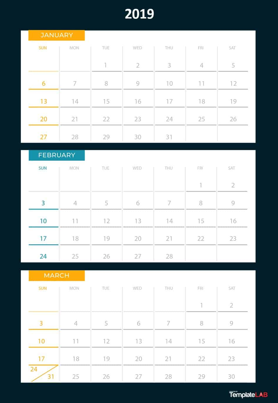 2019 Printable Calendars [Monthly, With Holidays, Yearly] ᐅ with regard to Calendar Template With 194 Days