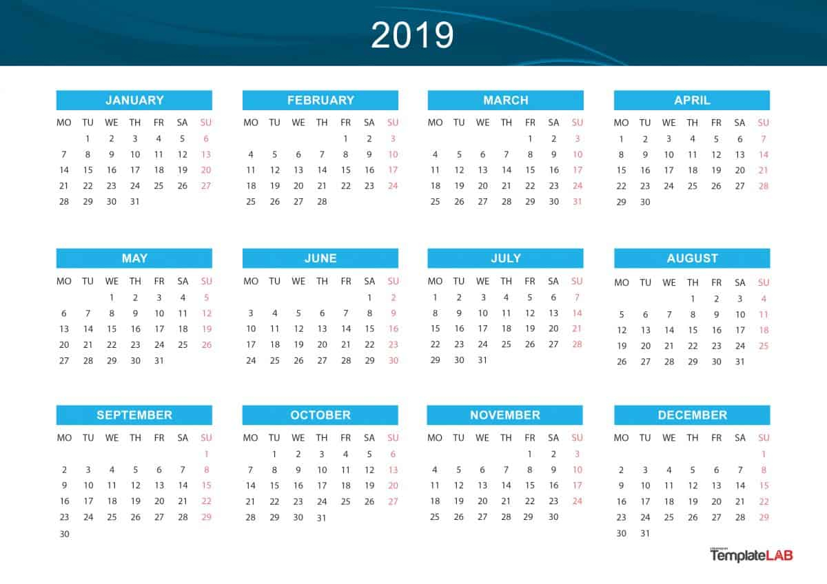 2019 Printable Calendars [Monthly, With Holidays, Yearly] ᐅ with regard to Printable Year Calendar 2019 - 2020 With Space To Write