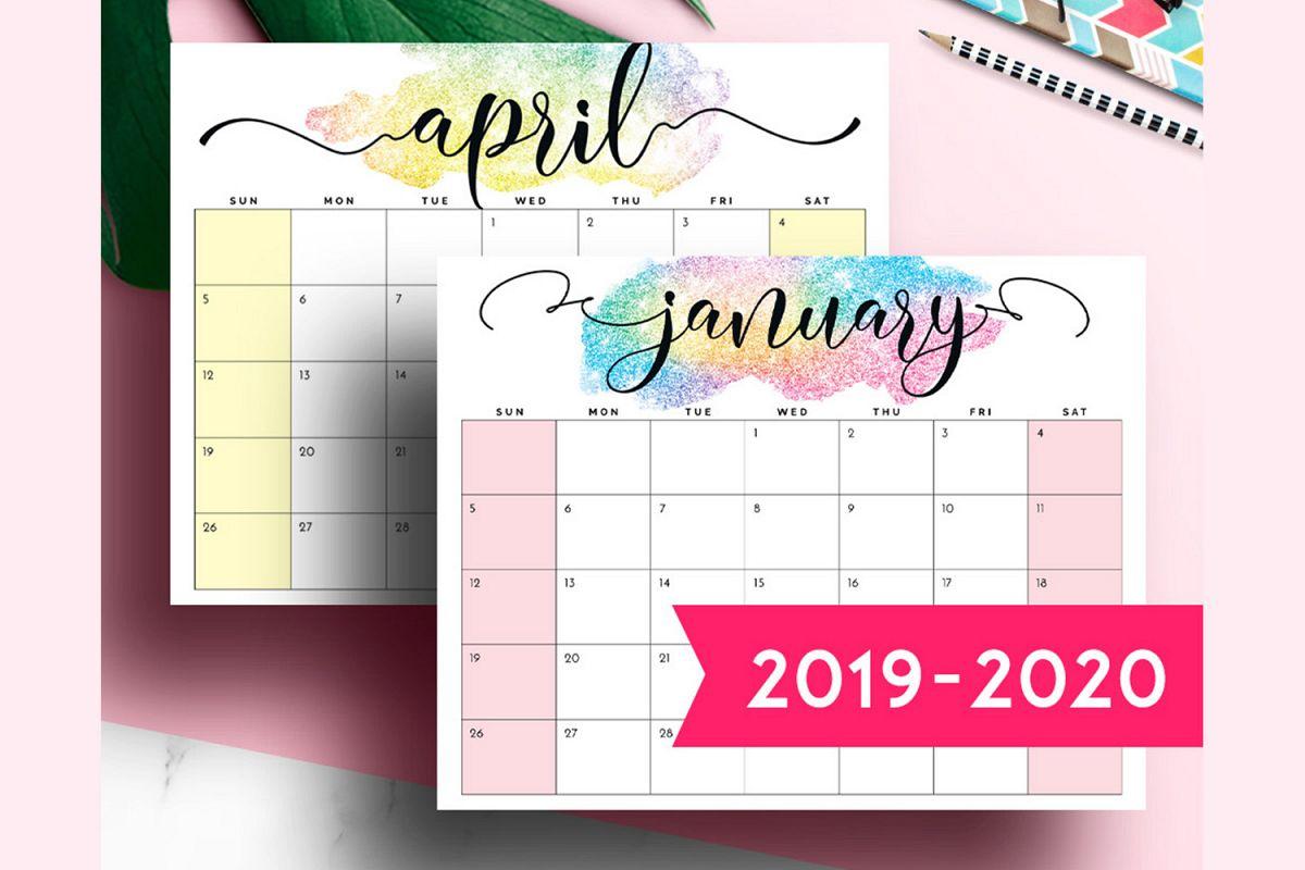 2019 Printable Desk Calendar Monthly Planner within Free Printable Unicorn Calendar 2019-2020