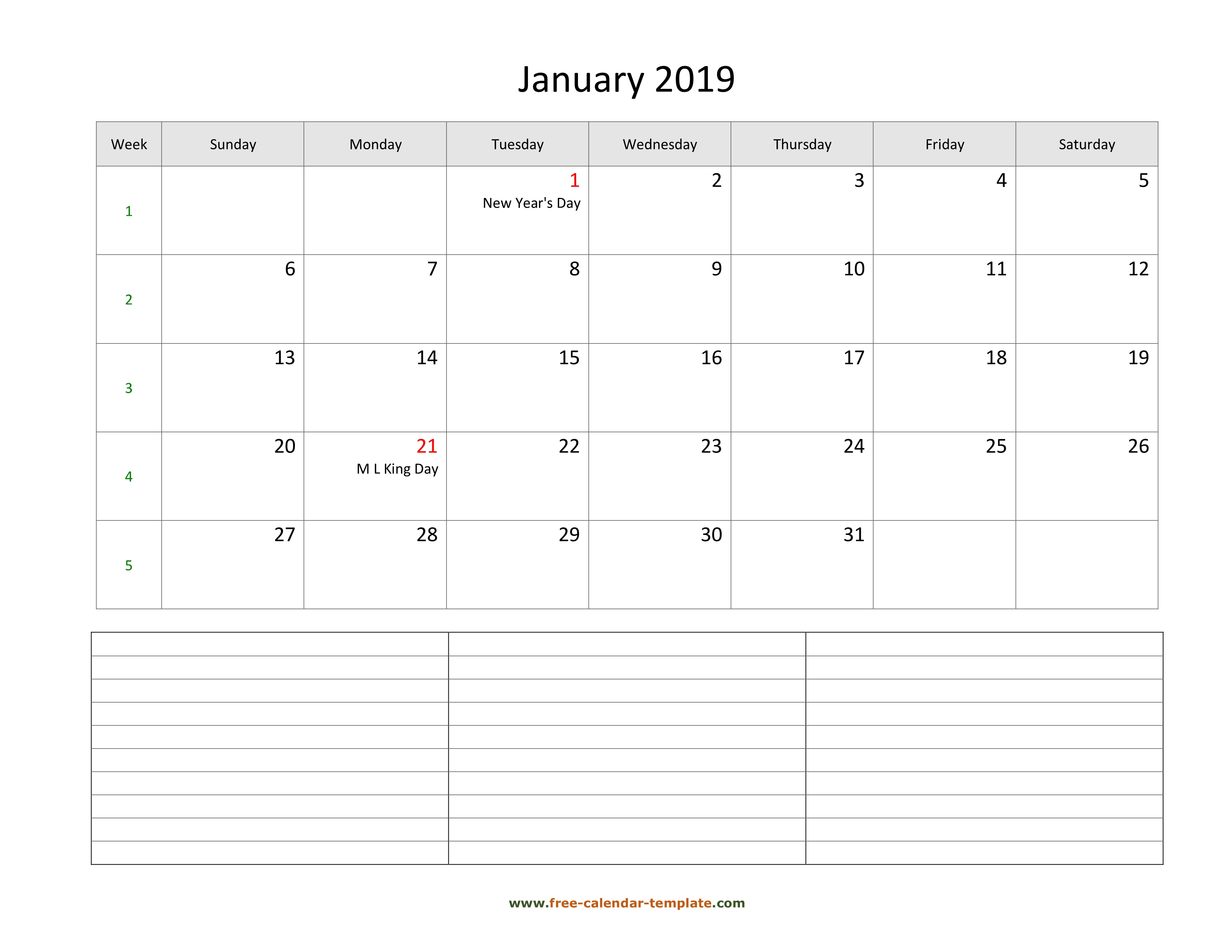 2019 Printable Monthly Calendar With Space For Appointments inside Monthly Calendar Template Printable Notes