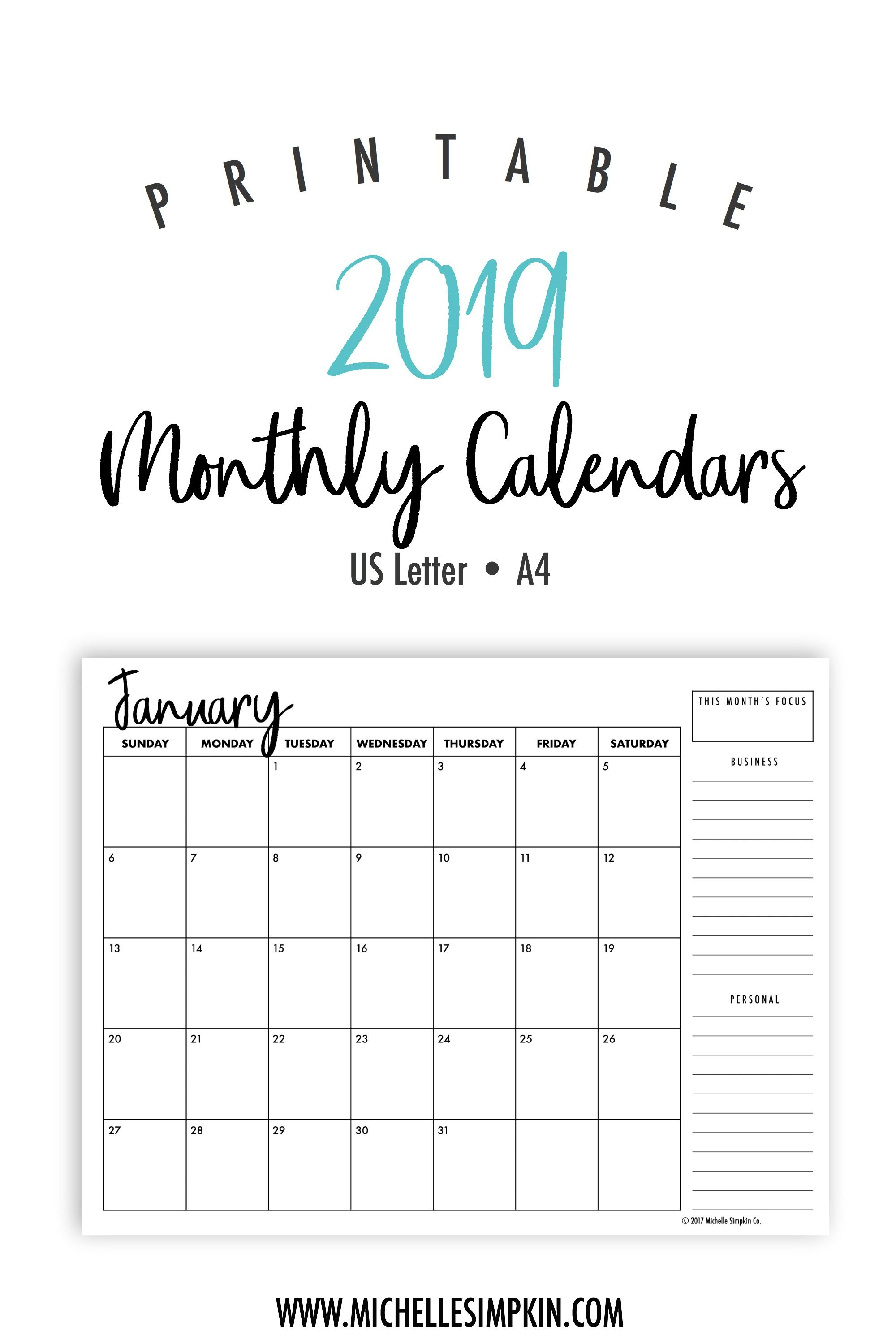2019 Printable Monthly Calendars • Landscape • Us Letter • A4 for Calendar Blank Printable Monday Start A4