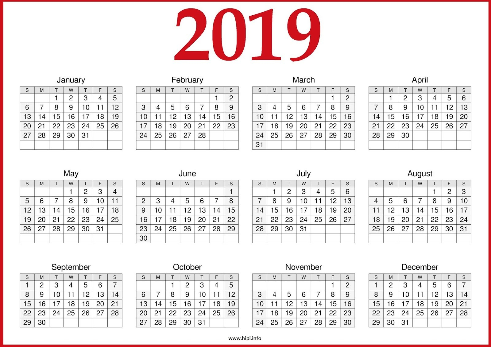 2019 Printable Yearly Calendar One Page - Free August 2019 Calendar in Blank Year Calendar On One Page