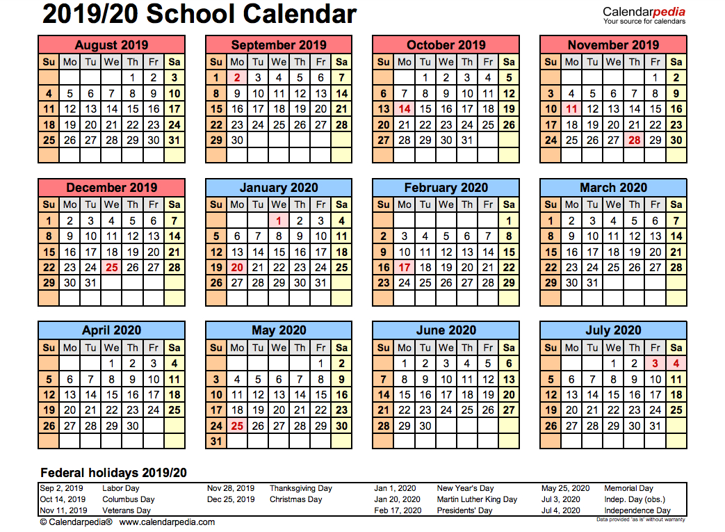 2019 School Calendar Printable | Academic 2019/2020 Templates pertaining to One Page Yearly Calendar 2019-2020