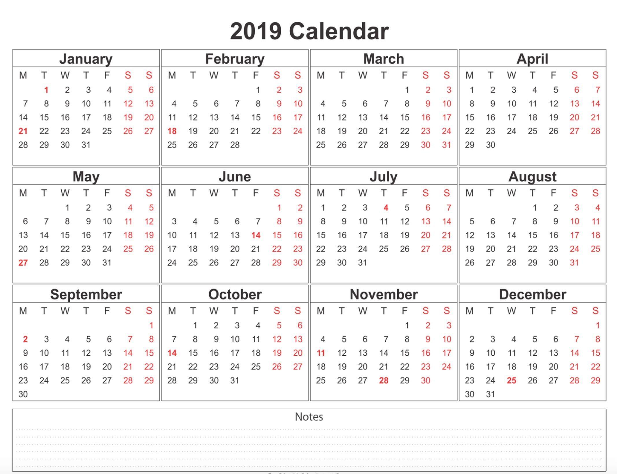 2019 Weekly Calendar Printable | 2019 Calendars | 12 Month Calendar for Calendar With Holidays Printable Templates