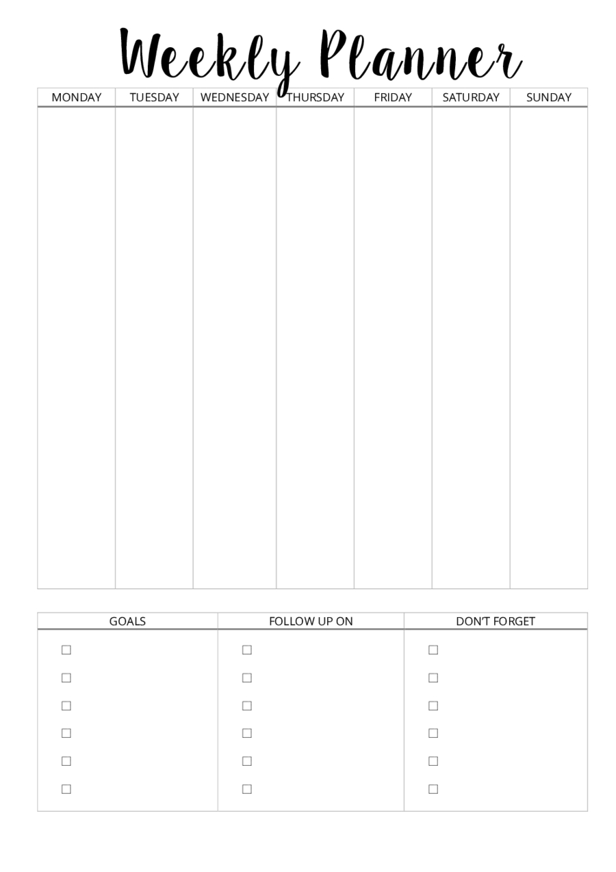 2019 Weekly Planner Template - Fillable, Printable Pdf & Forms pertaining to Horizontal Weekly Calendar Template