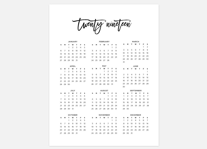 2019 Year At A Glance Printable Calendar 2019 Calendar Simple pertaining to Year At A Glance Calendar2019-2020 Free Printable