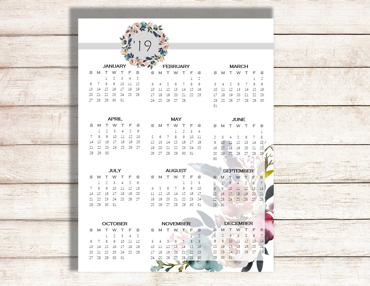 2019 Yearly Calendar, 2020 Calendar, Calendar Full Page Printable intended for Printable Year At Glance Calendar For 2020