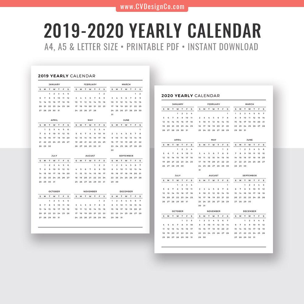 2019 Yearly Calendar And 2020 Yearly Calendar, 2019 - 2020 Yearly Calendar,  Digital Printable Planner Inserts. Filofax A5, A4, Letter Size regarding 2019-2020 Blank Calendar To Print