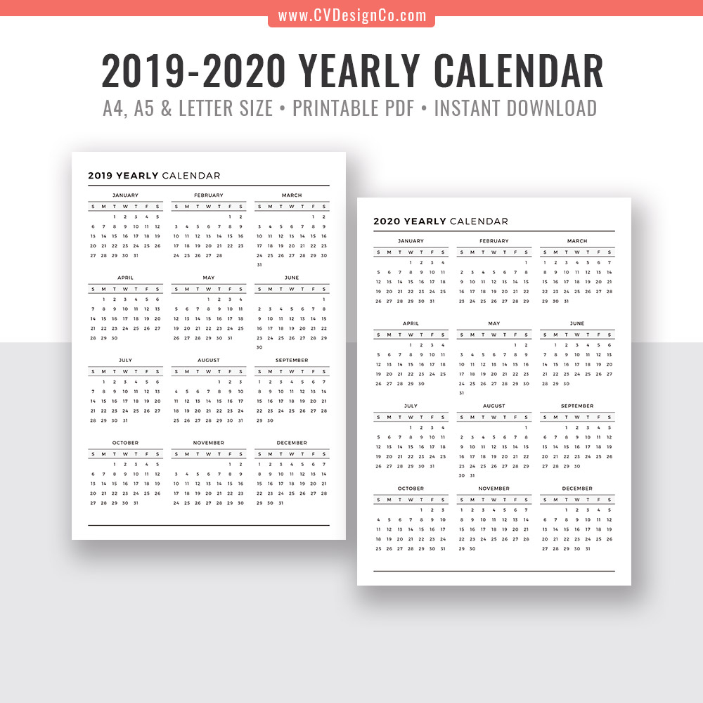 2019 Yearly Calendar And 2020 Yearly Calendar, 2019 - 2020 Yearly Calendar,  Digital Printable Planner Inserts. Filofax A5, A4, Letter Size with 2020 Calendar 8.5 X 11
