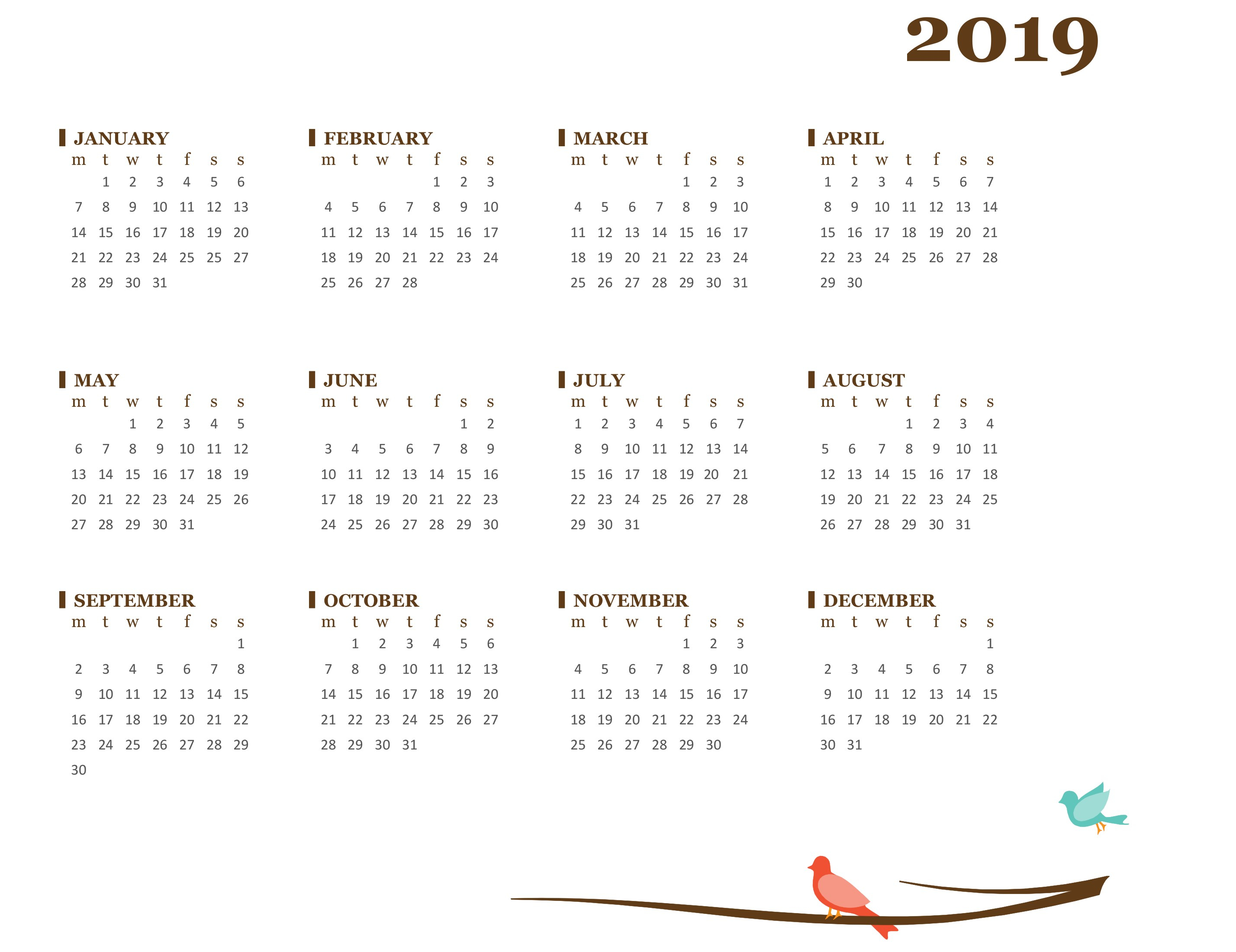 2019 Yearly Calendar (Mon-Sun) inside Blank Year At A Glance Calendar Template