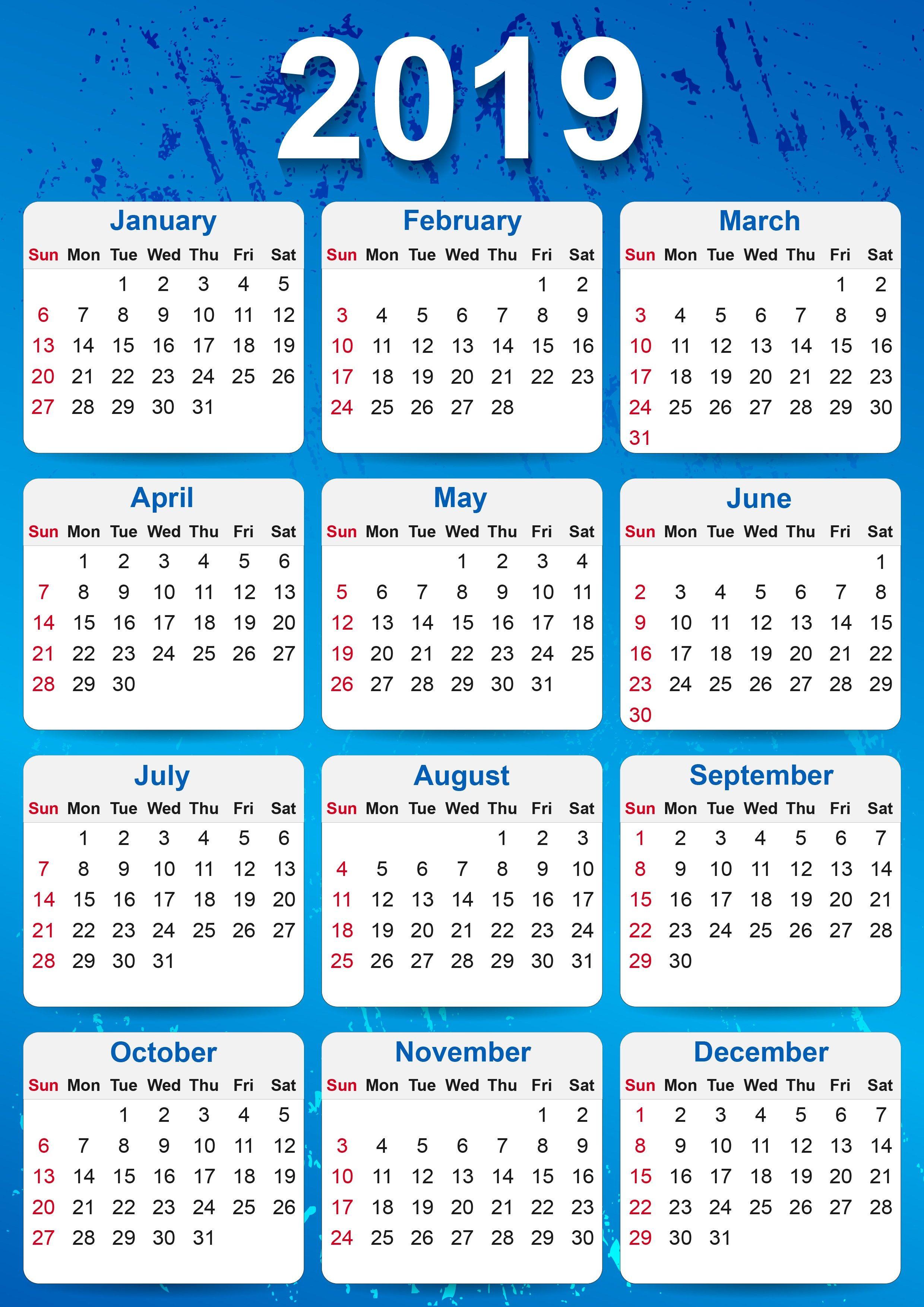 2019 Yearly Calendar Printable | Calendar | 2019 Yearly Calendar throughout Frame Birthday Calendar Templates Free