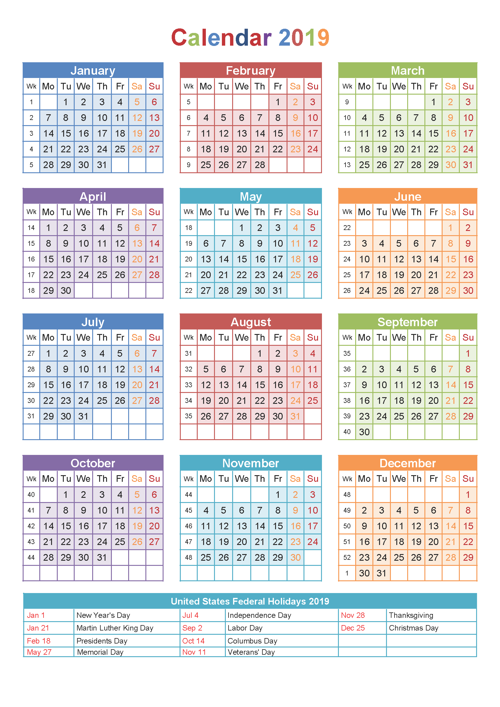 2019 Yearly Calendar Printable Templates – Holidays, Pdf Word Excel in Blank Calender Academic Year 2019 -2020