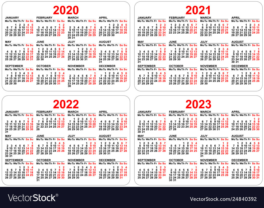 2020 2021 2022 2023 Years Set Pocket Calendar throughout Free Prinable Calenders 2020 To 2023