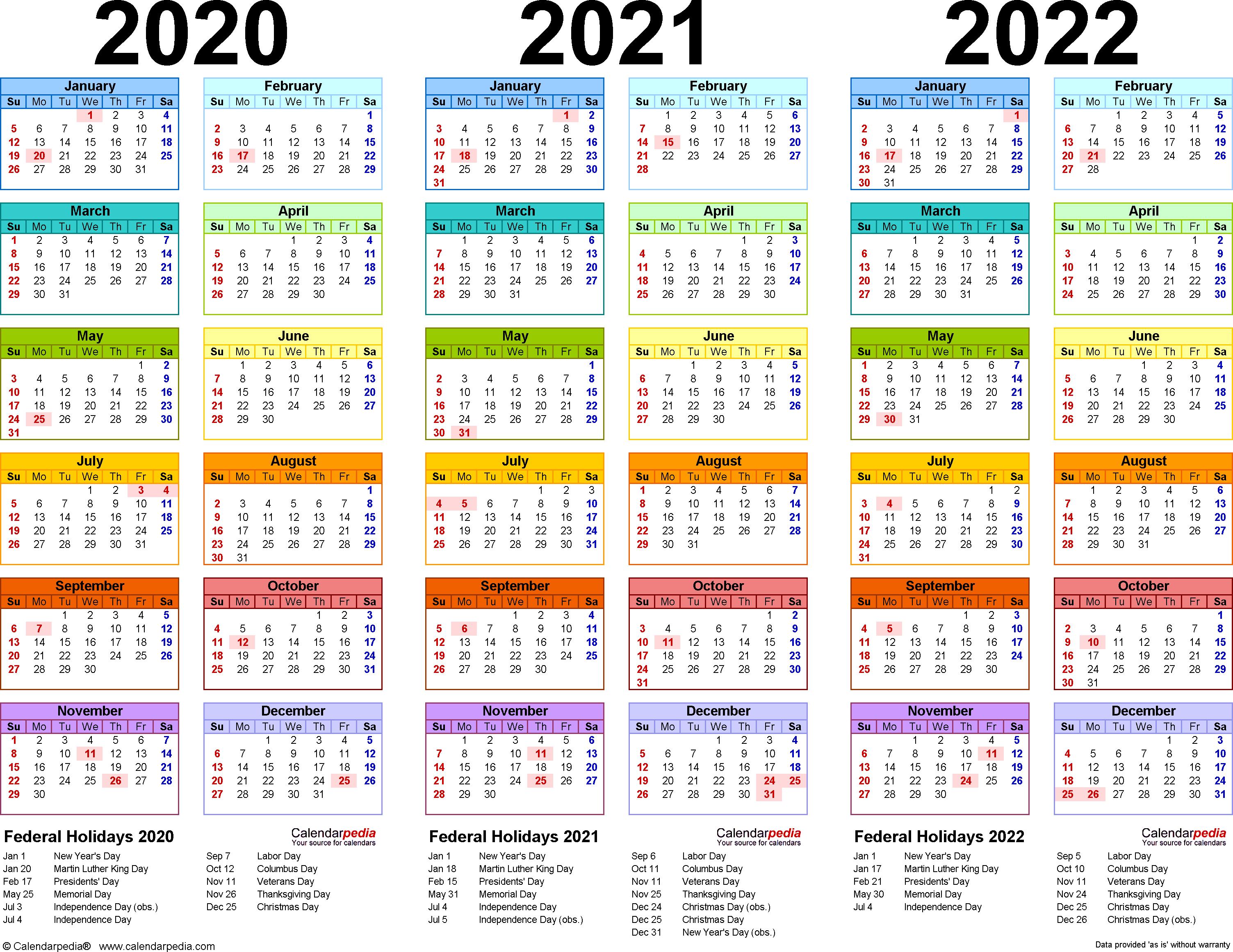 2020/2021/2022 Calendar - 4 Three-Year Printable Pdf Calendars regarding Blank Year Long Calendar 2022