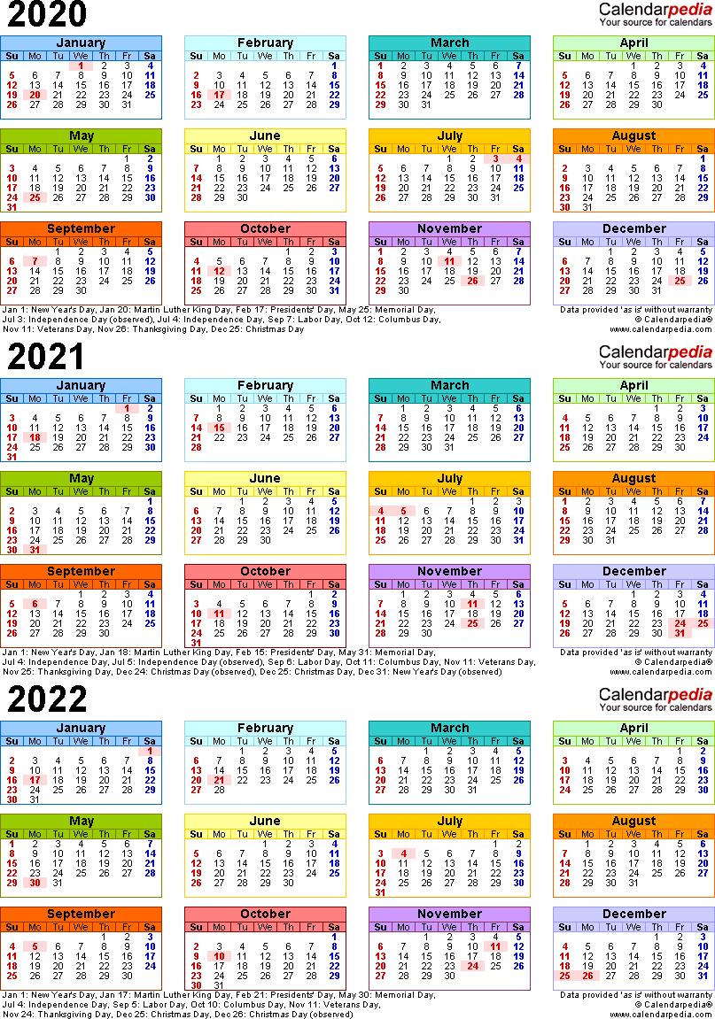 2020/2021/2022 Calendar - 4 Three-Year Printable Word Calendars regarding Three Year Calendar 2020 -2023