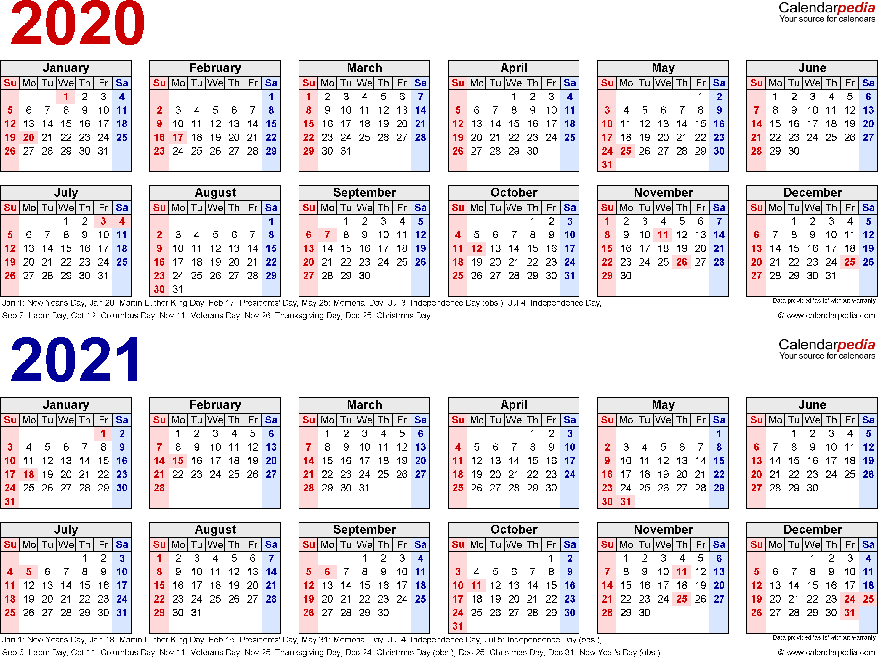 2020-2021 Calendar - Free Printable Two-Year Word Calendars for Calender 2020 Template Monday To Sunday