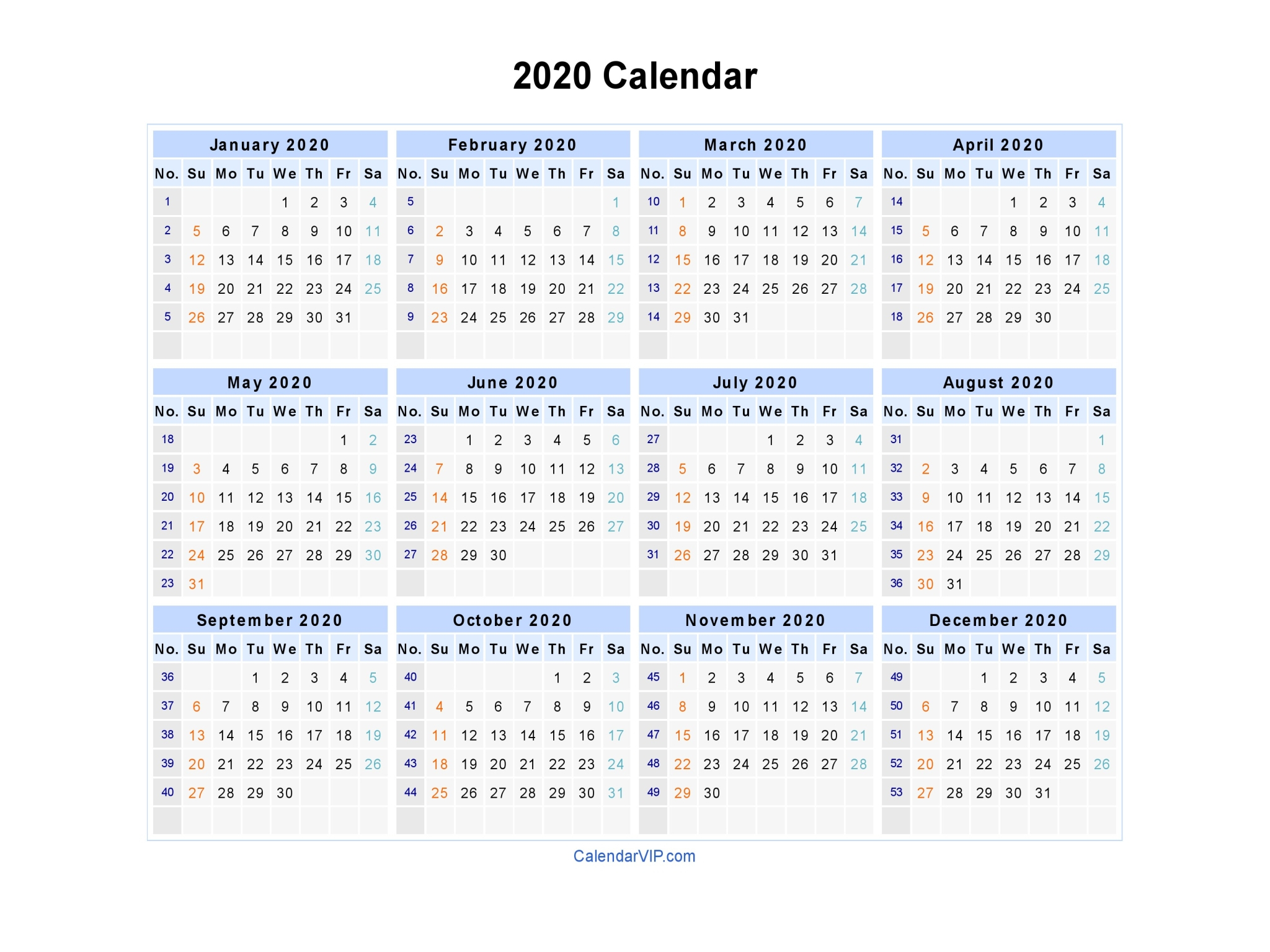 2020 Calendar - Blank Printable Calendar Template In Pdf Word Excel for 2020 Calendar With Week Numbers In Excel