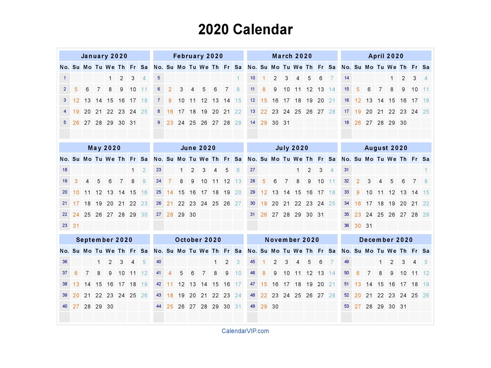 2020 Calendar - Blank Printable Calendar Template In Pdf Word Excel for Blank 2020 Calendars To Edit