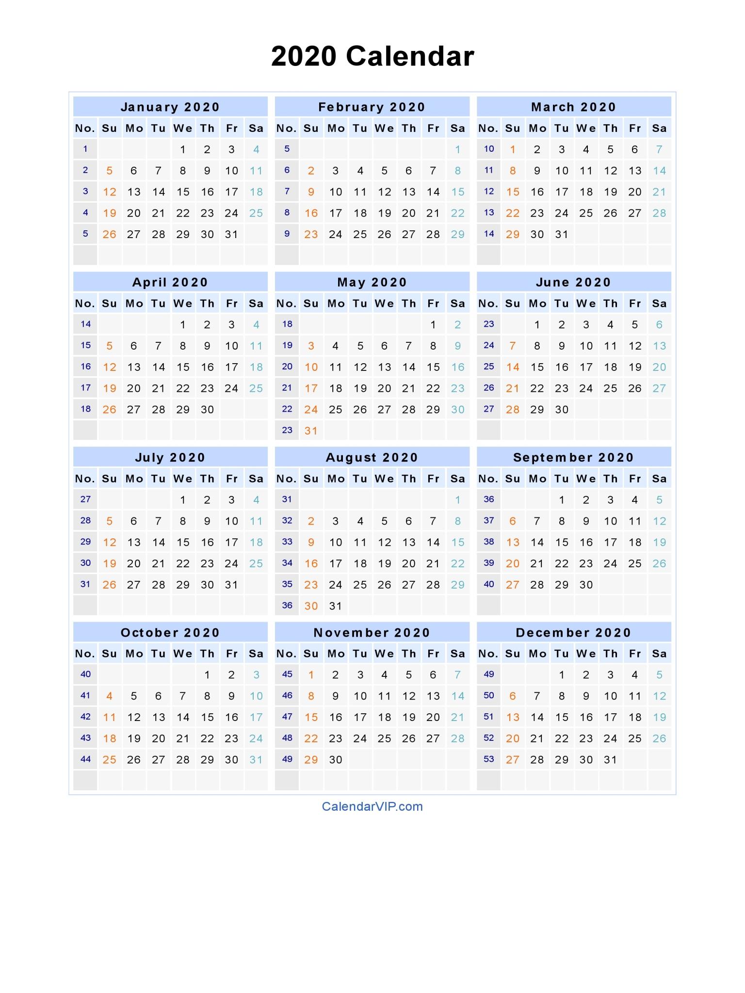 2020 Calendar - Blank Printable Calendar Template In Pdf Word Excel regarding 2020 Calender I Can Edit