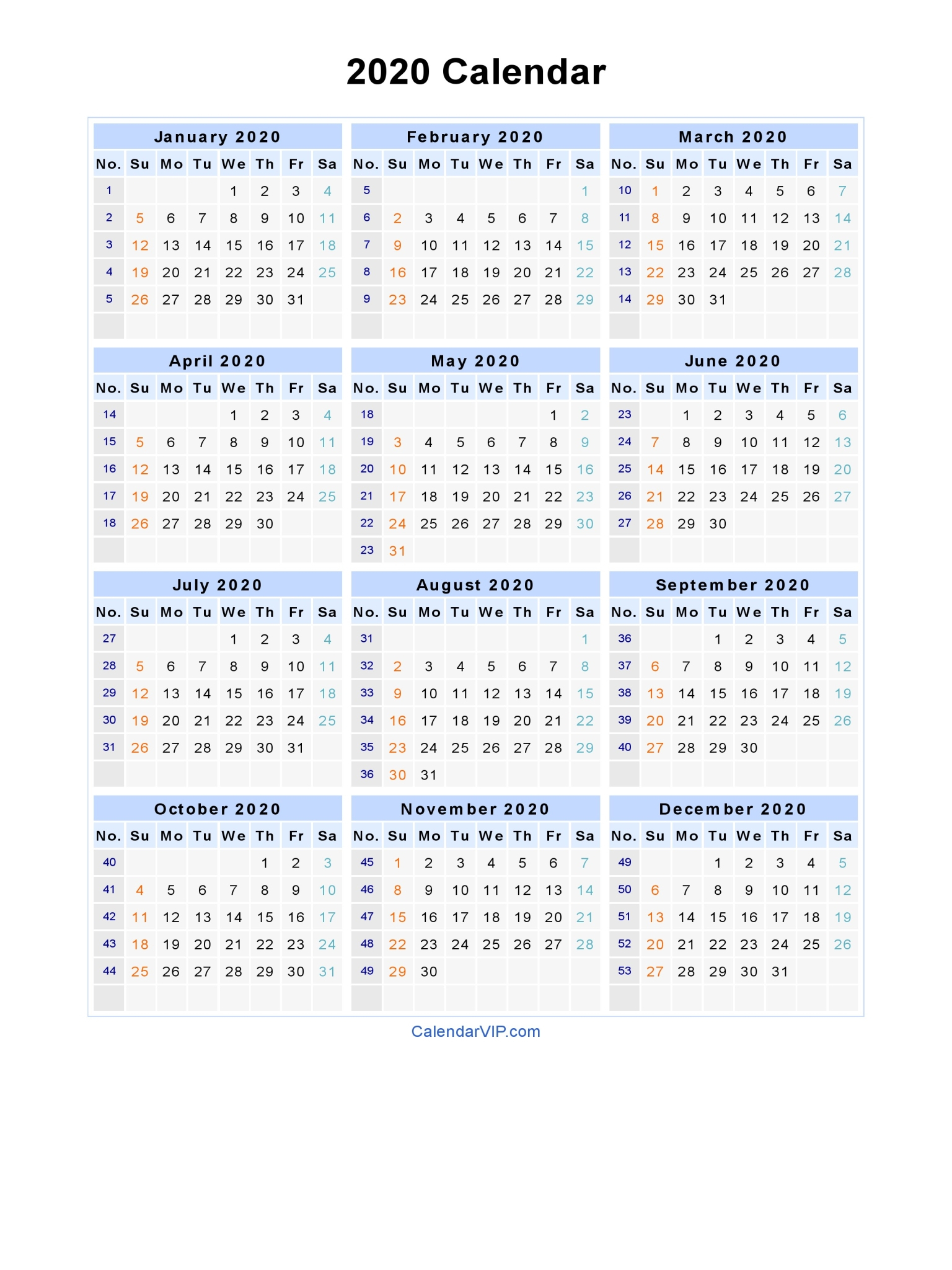 2020 Calendar - Blank Printable Calendar Template In Pdf Word Excel with 2020 Calendar With Week Numbers In Excel