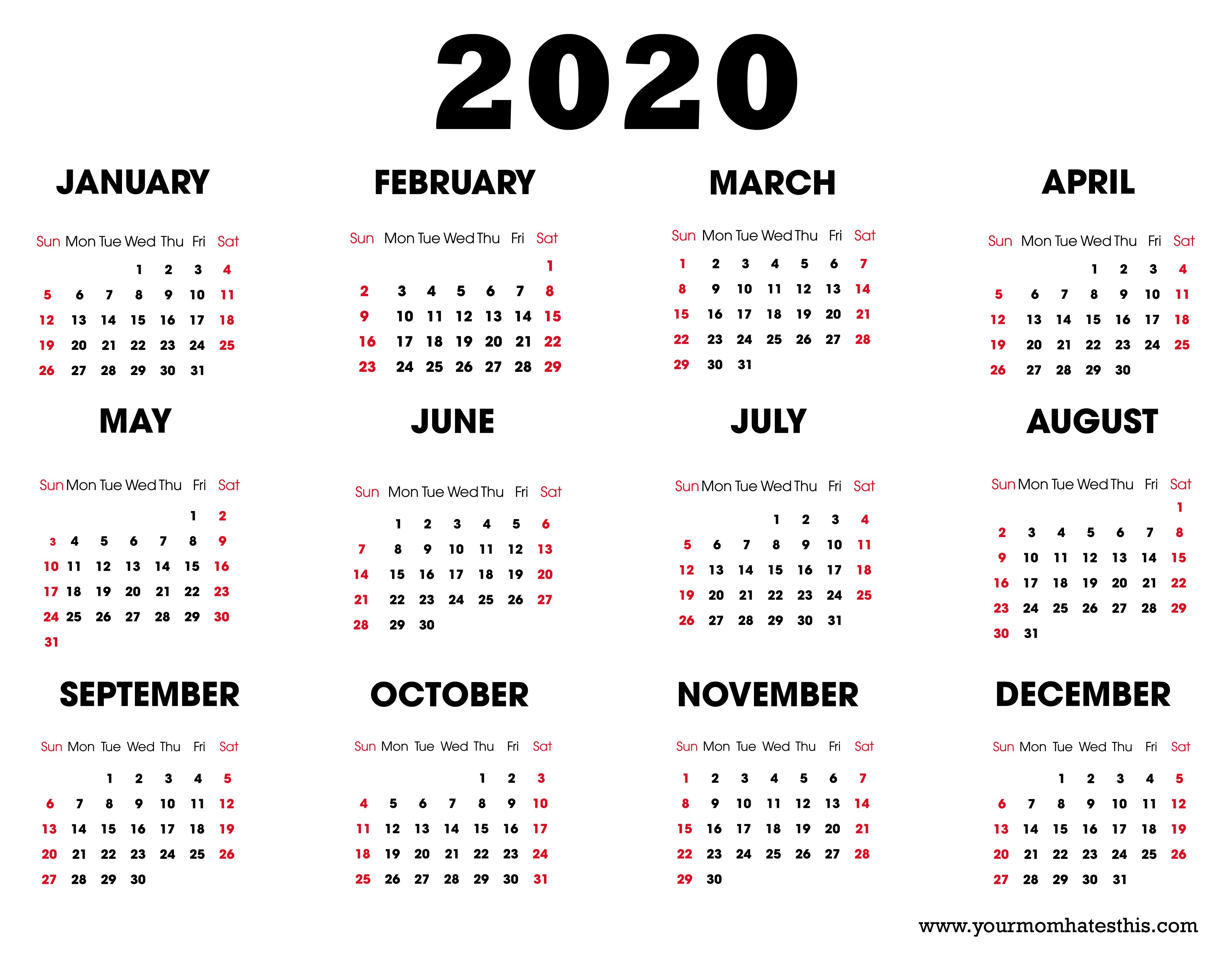 2020 Calendar – Download Printable Calendars for Free Template 2020 Sunday To Saturday Calendar