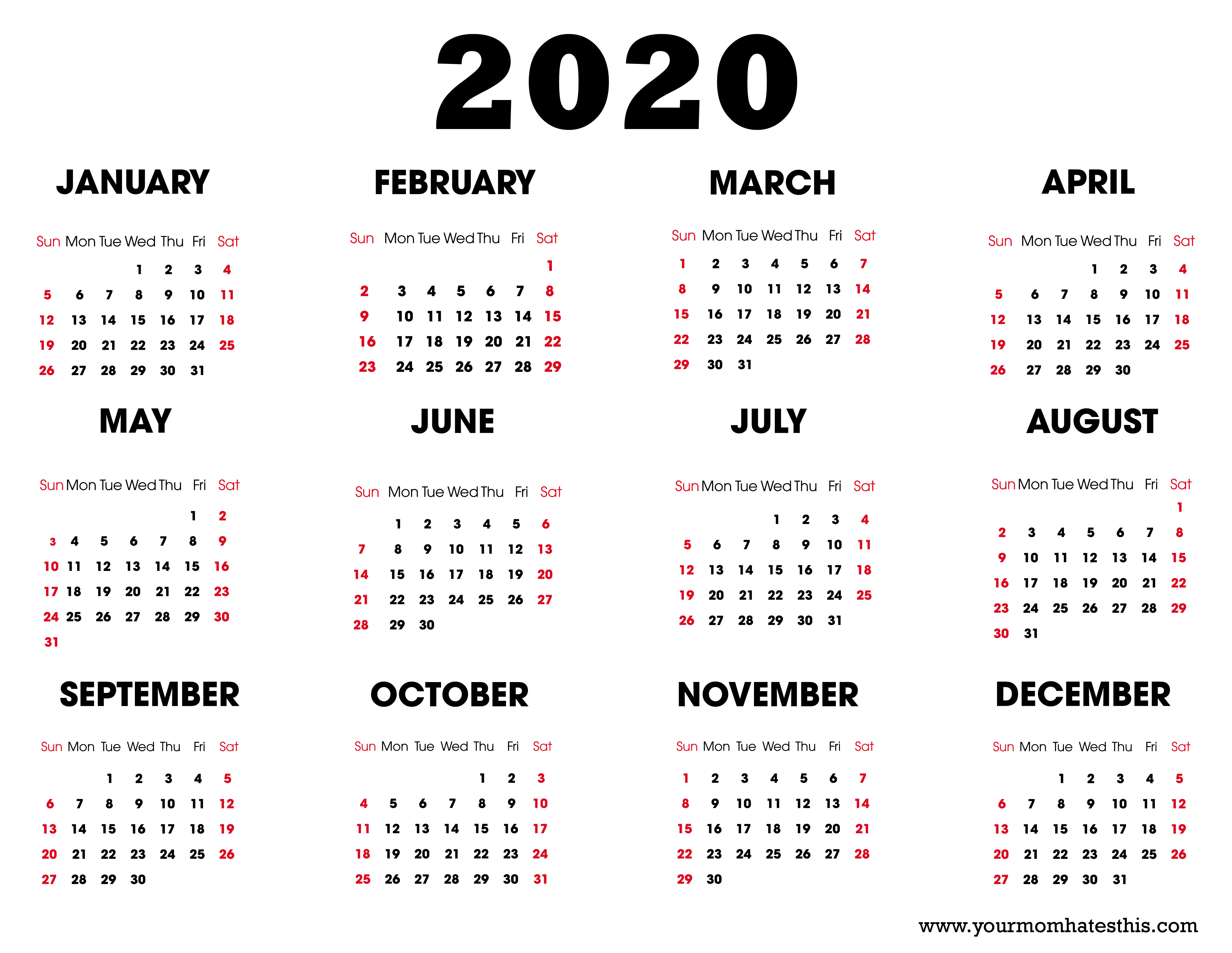 2020 Calendar – Download Printable Calendars regarding Free Calendar 2020 Printable Without Download
