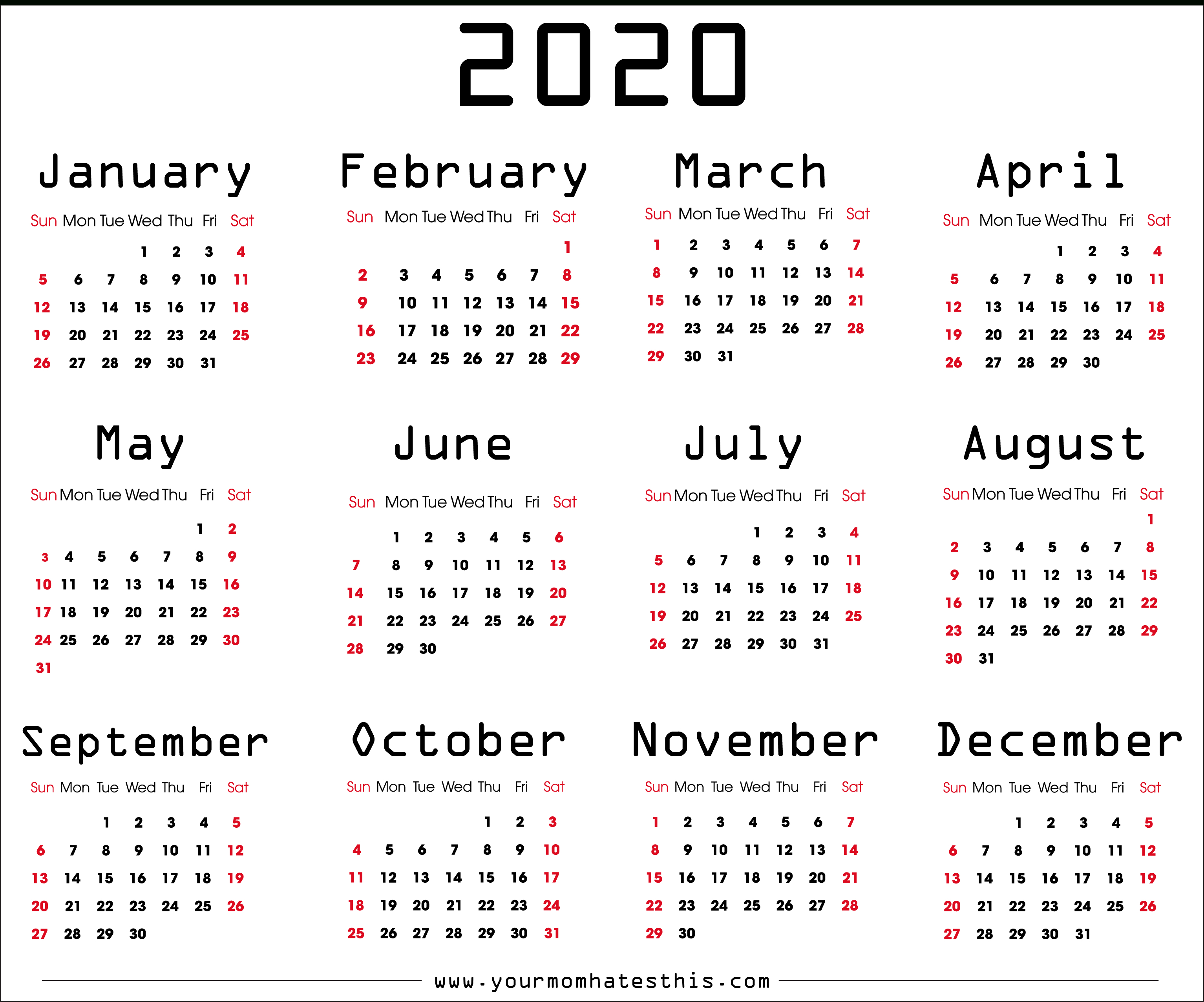 2020 Calendar – Download Printable Calendars with 2020 Calendar Sunday To Saturday