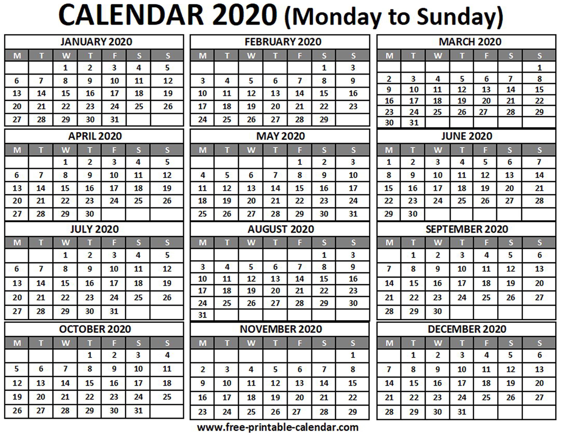 2020 Calendar - Free-Printable-Calendar with 2020 Calendar Starting With Monday