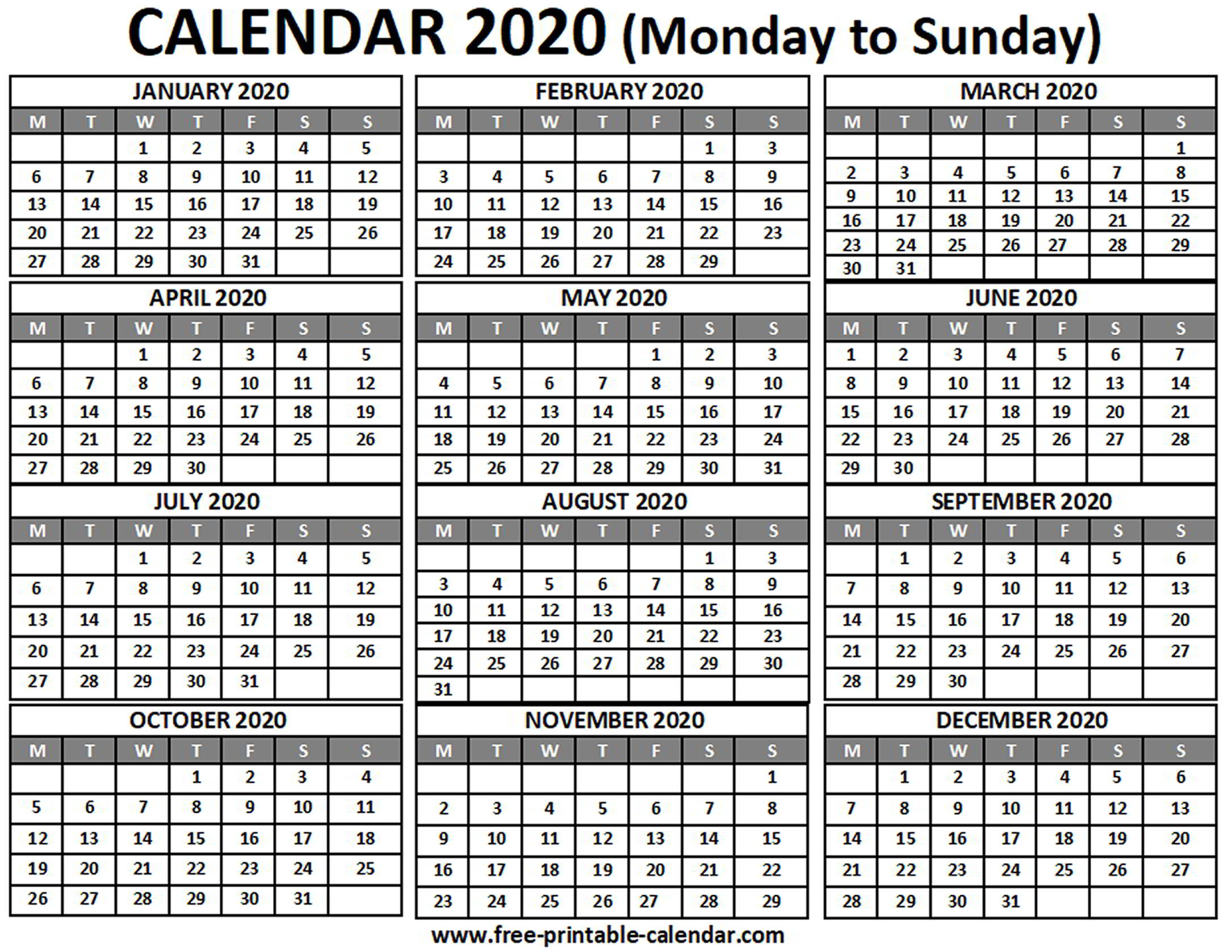 2020 Calendar - Free-Printable-Calendar with regard to 2020Printable Monday Through Sunday Calendars