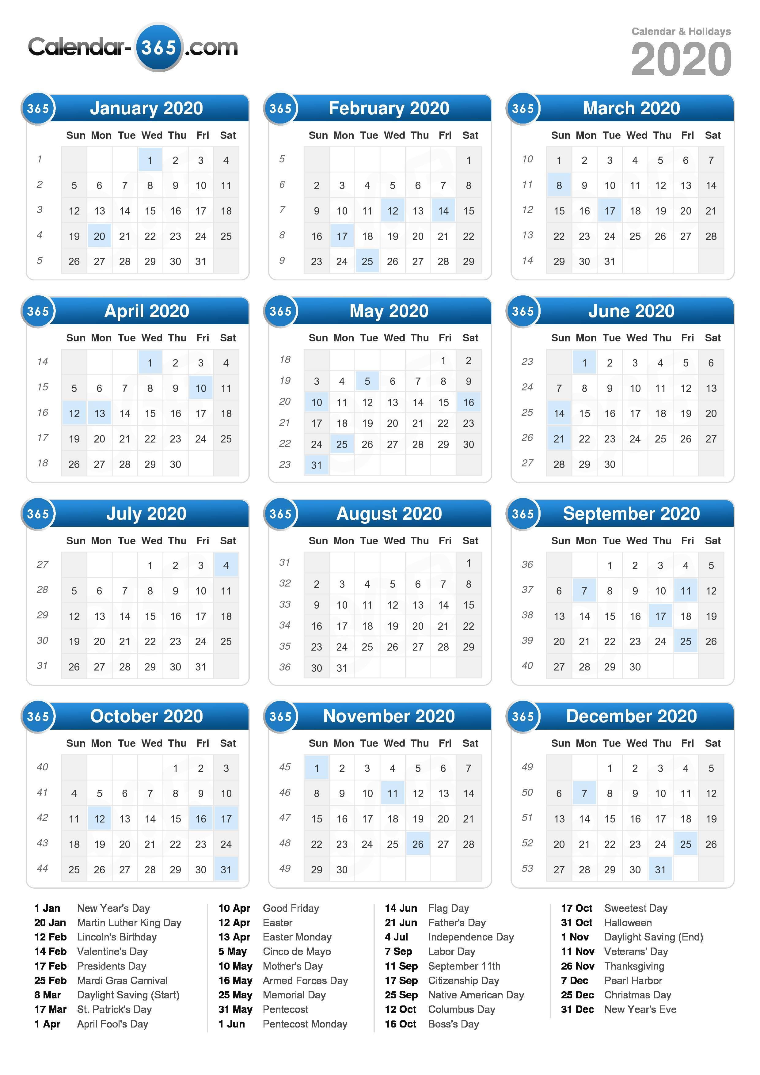 2020 Calendar in Printable 2020 Calendar Monday To Friday