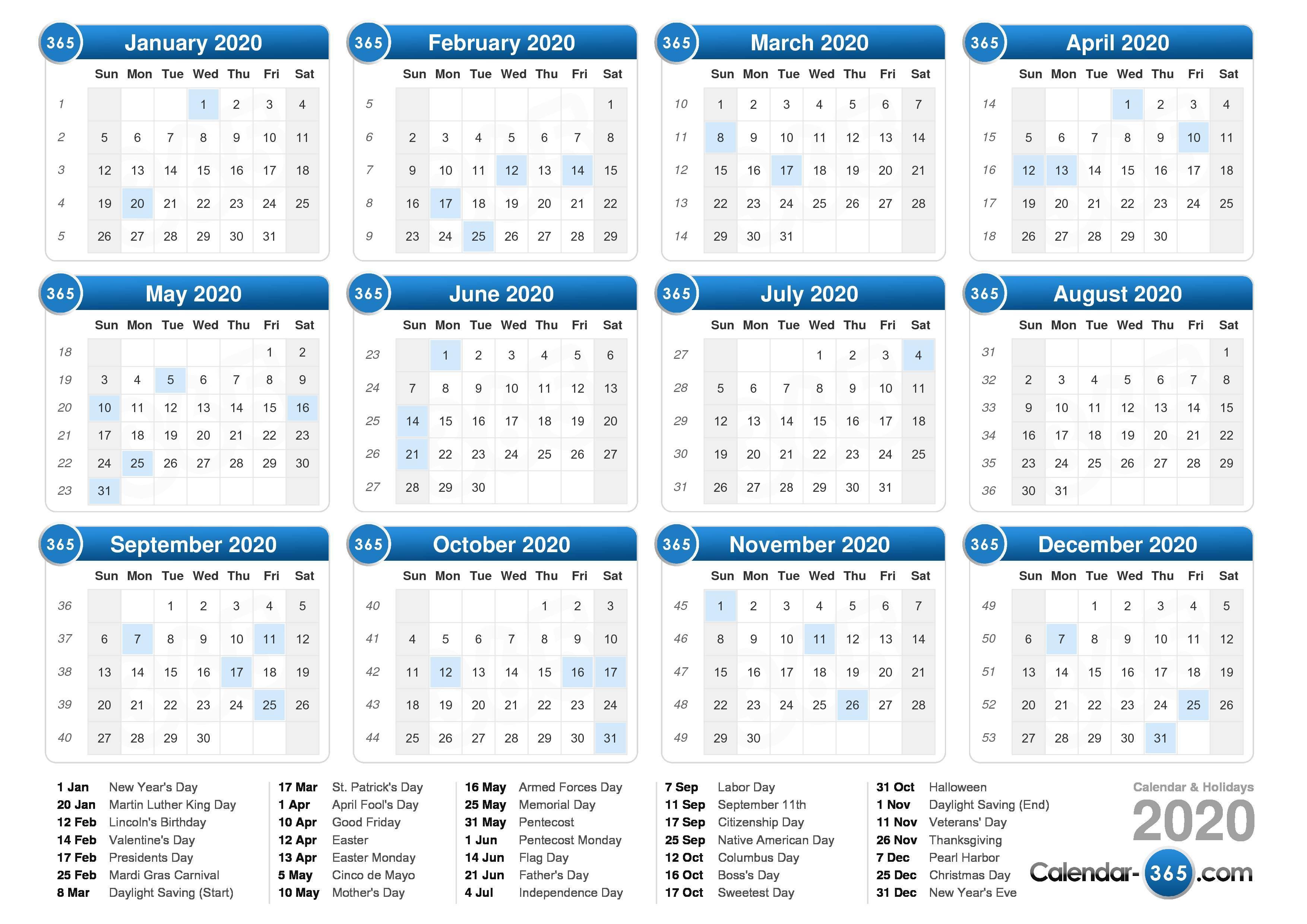 2020 Calendar inside 2020 Calendar Starting With Monday