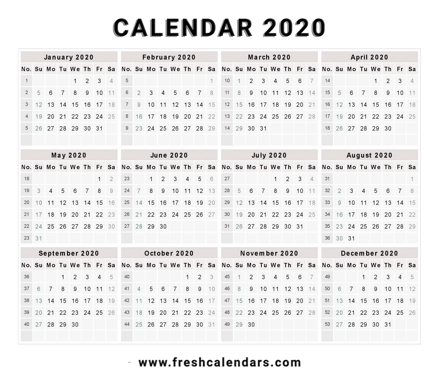 2020 Calendar pertaining to Free Template 2020 Sunday To Saturday Calendar
