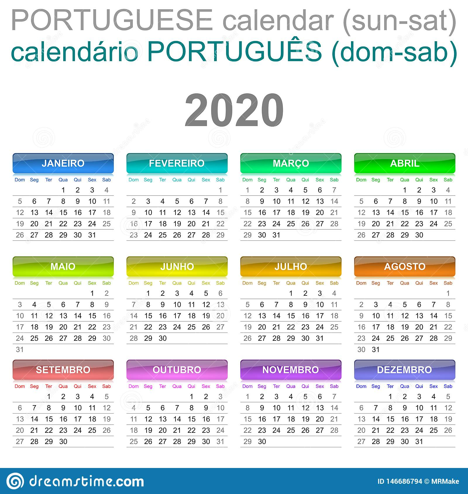 2020 Calendar Portuguese Language Sunday To Saturday Stock for 2020 Calendar Sunday Through Saturday