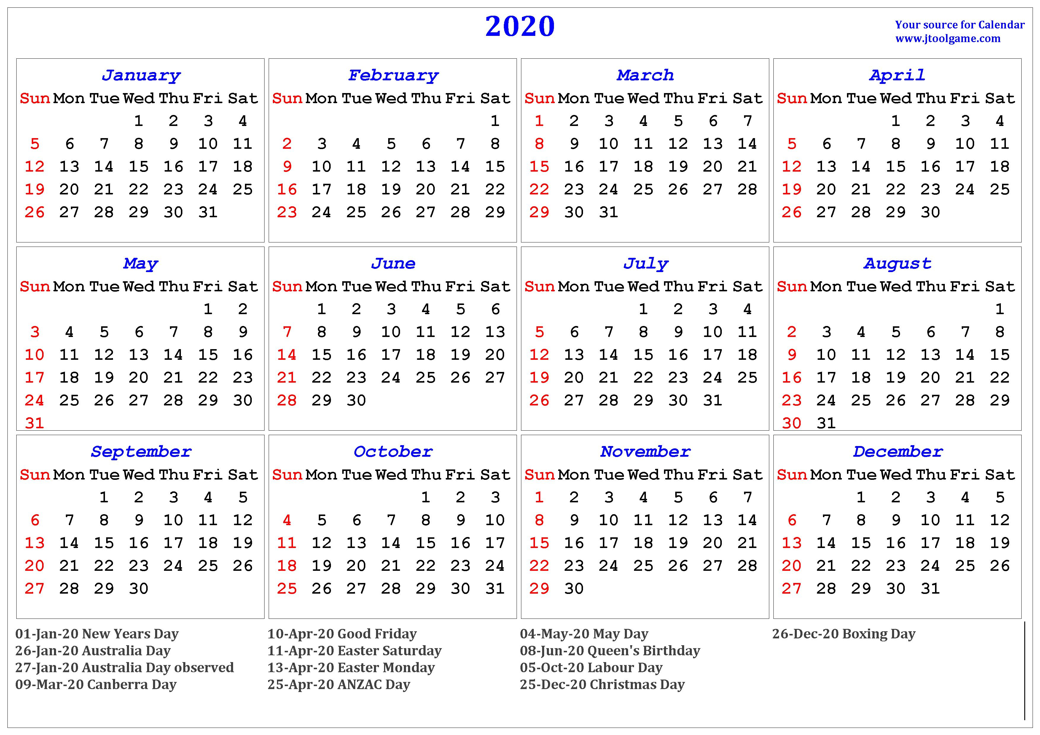2020 Calendar - Printable Calendar. 2020 Calendar In Multiple Colors inside Free Printable 2020 Monday To Friday Australian Calender