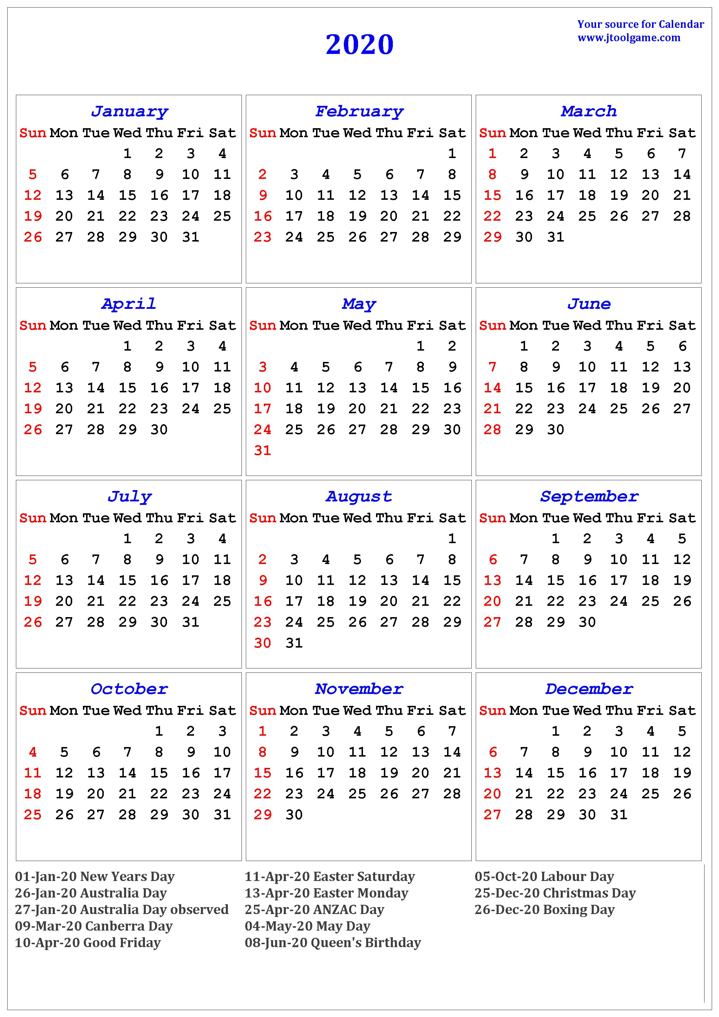 2020 Calendar - Printable Calendar. 2020 Calendar In Multiple Colors throughout Free Printable 2020 Monday To Friday Australian Calender