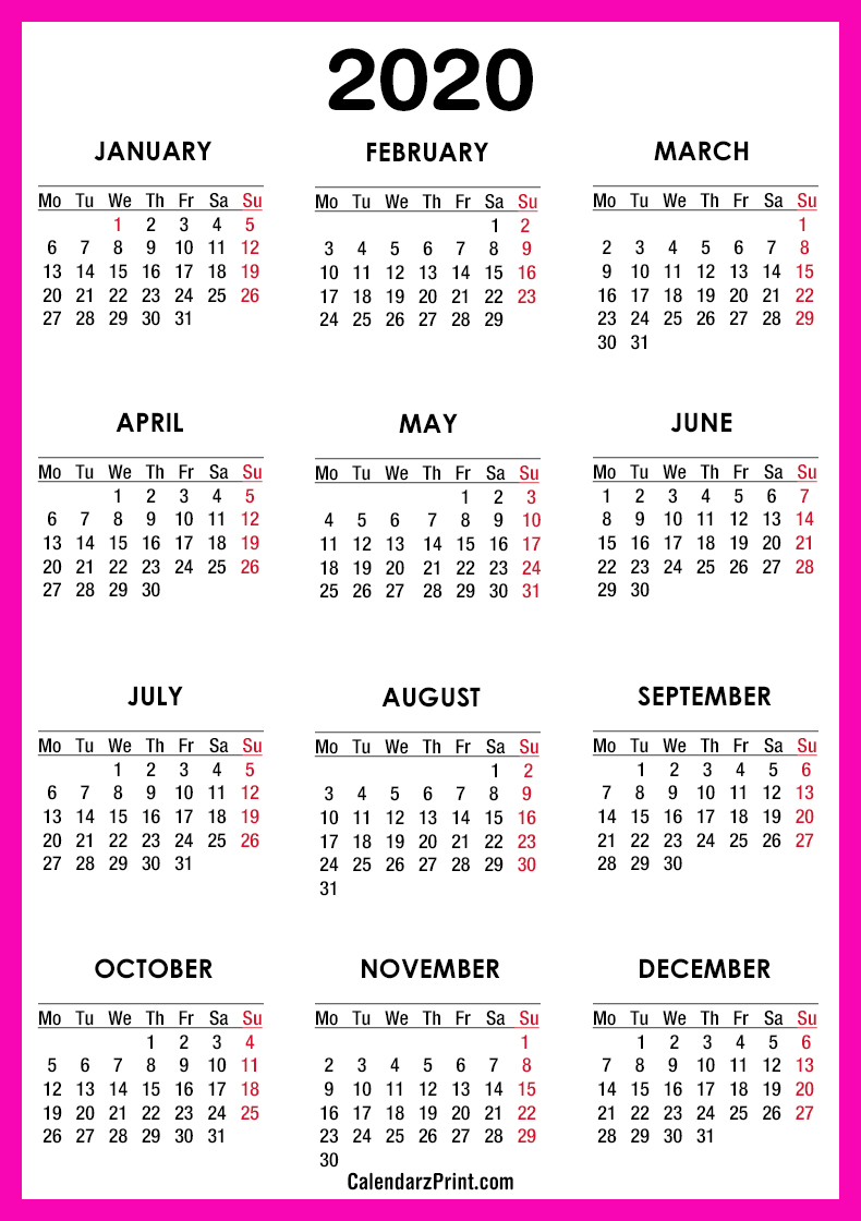 2020 Calendar – Printable Free – Pink – Monday Start intended for 2020 Printable Calendar With Sunday And Saturday Pink Color