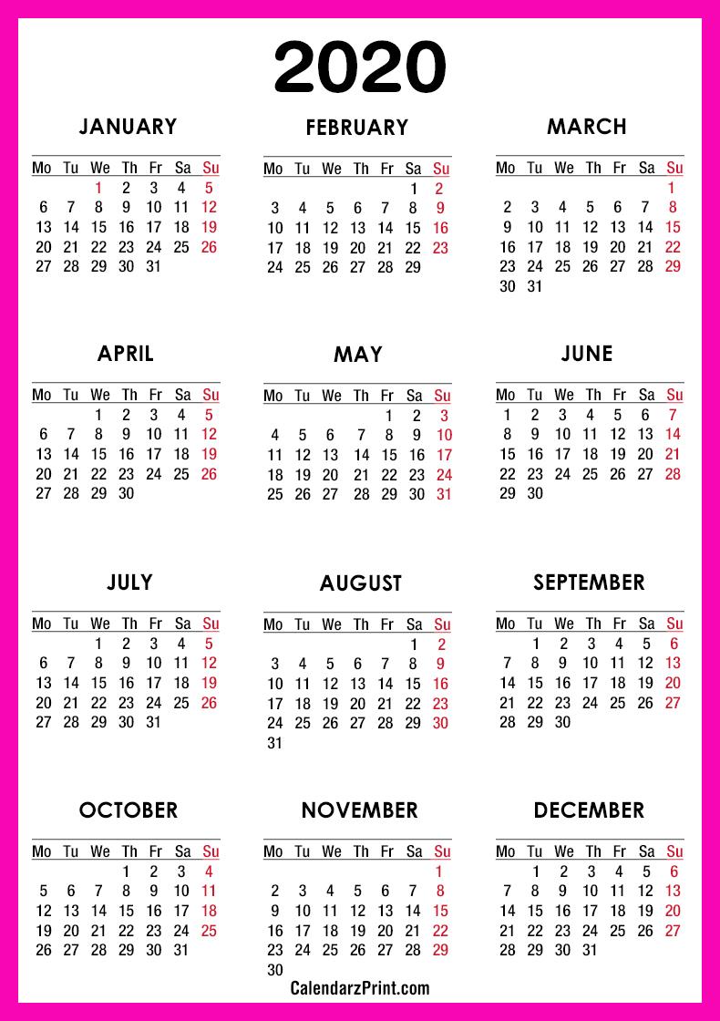 2020 Calendar – Printable Free – Pink – Monday Start intended for Printable Calendar 2020 Monday To Sunday