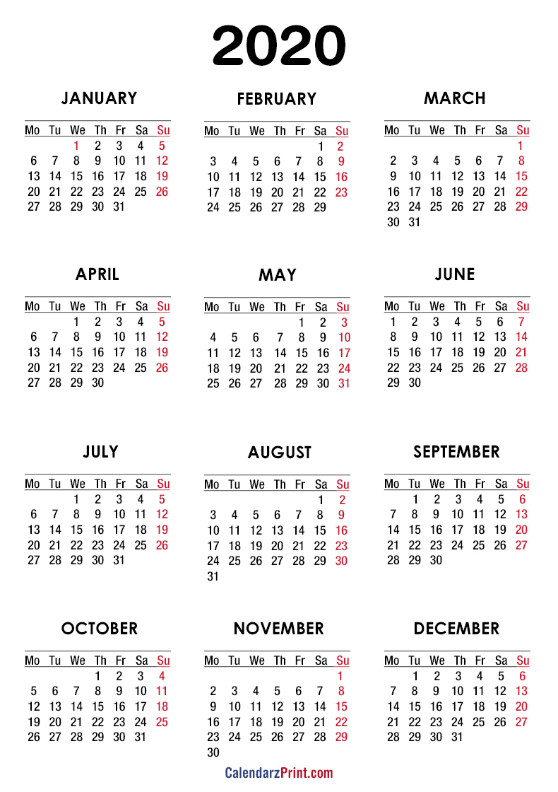 2020 Calendar – Printable Free – White – Monday Start with 2020 Calendar Monday To Sunday