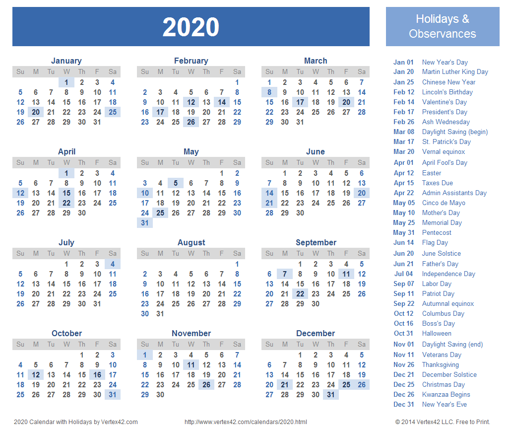 2020 Calendar Prints For Planning! | Planner | Printable Calendar within Free Calendar At A Glance 2020