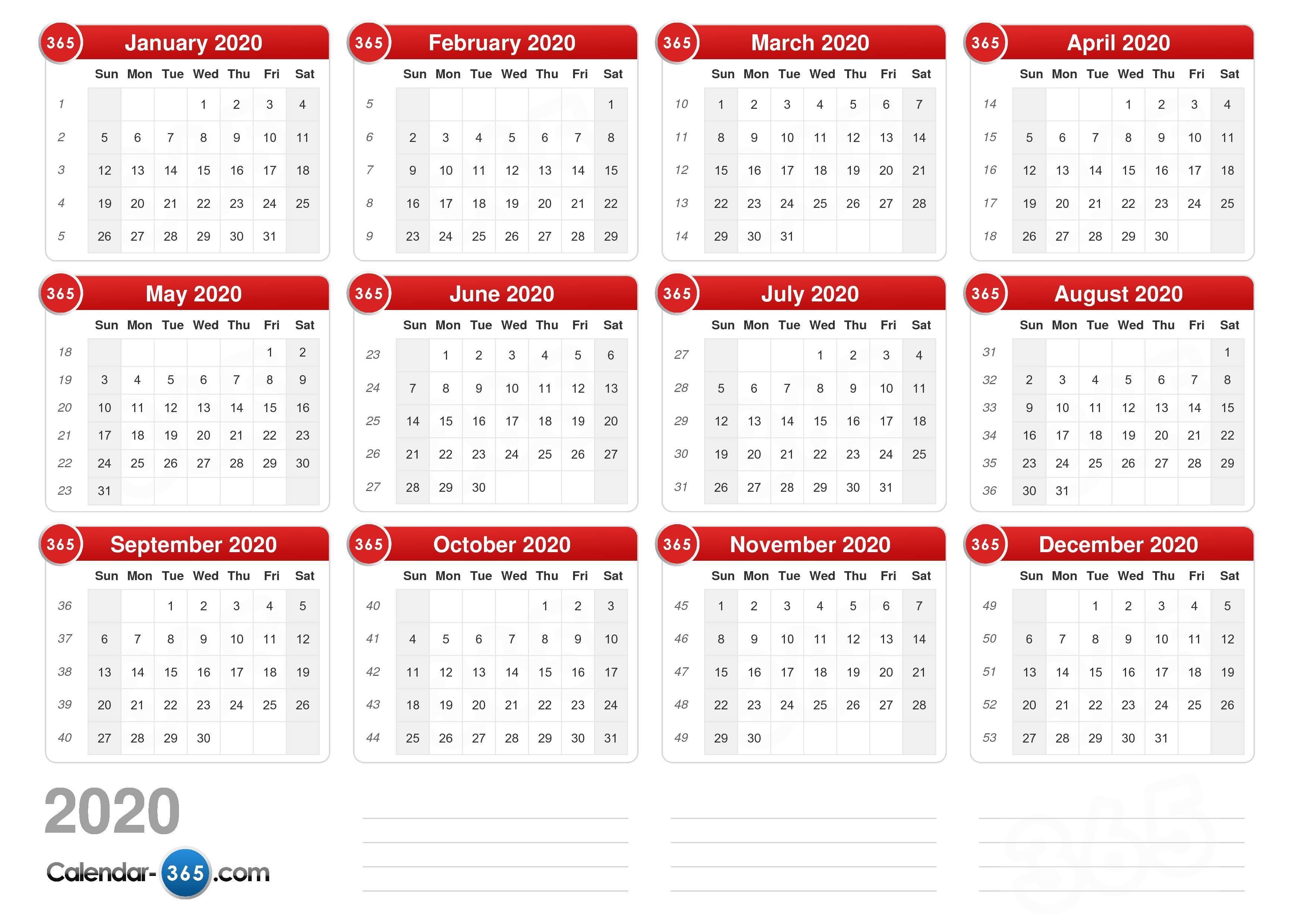 2020 Calendar regarding Monday To Sunday Printable 2020 Calendar
