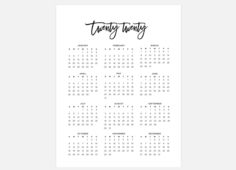 2020, Calendar, Simple Calendar, 2020 Year Calendar, 2020 Calendars, 2020  Year Planner, Wall Calendar, Printable Calendar, 2020 At A Glance for 2020 Year At A Glance Free Printable Calendar