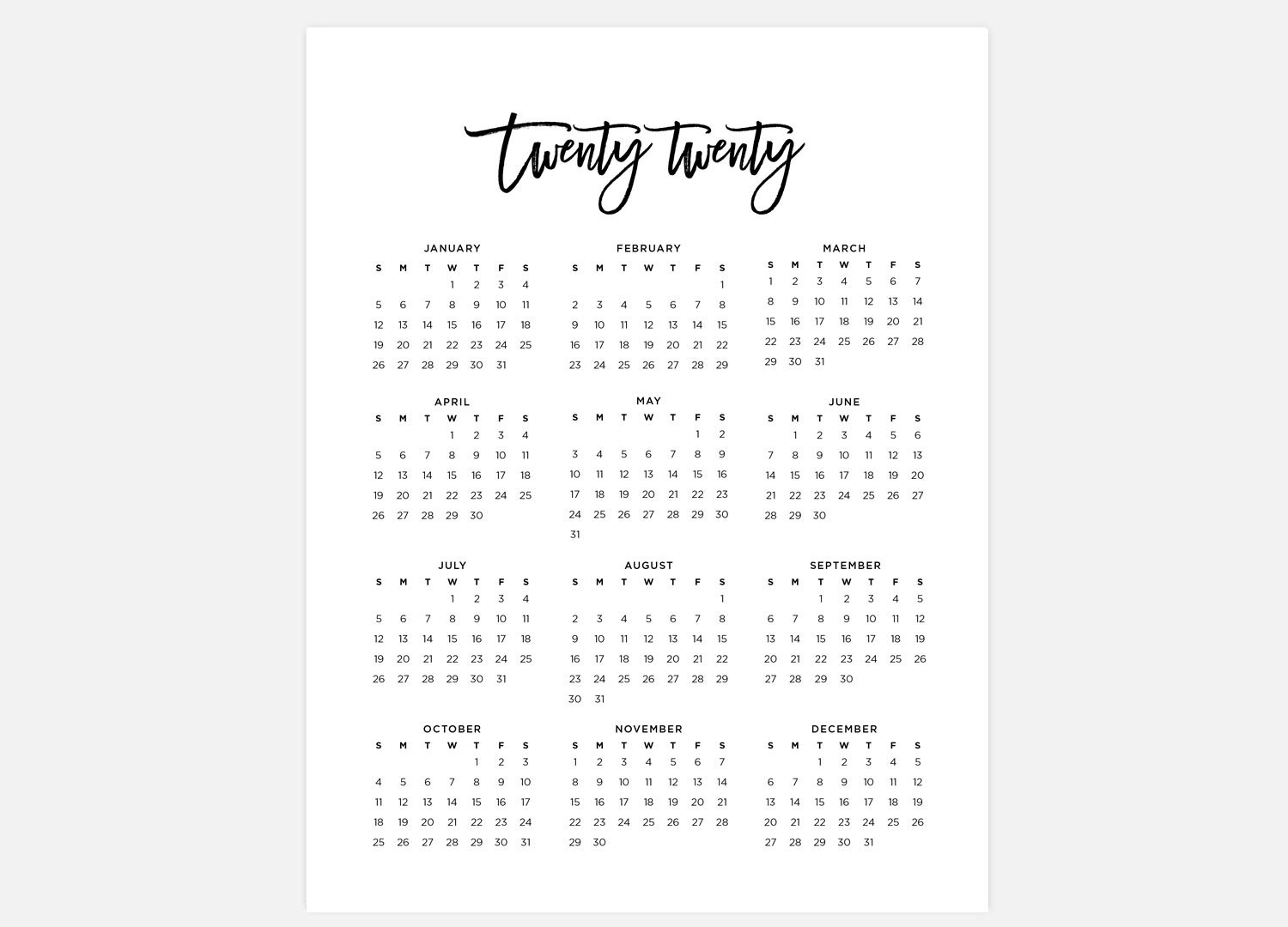 2020, Calendar, Simple Calendar, 2020 Year Calendar, 2020 Calendars, 2020  Year Planner, Wall Calendar, Printable Calendar, 2020 At A Glance regarding Printable Year At Glance Calendar For 2020