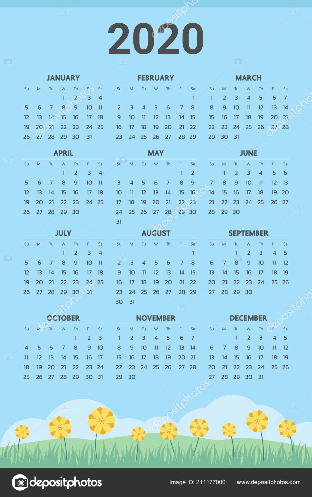 2020 Calendar Spring Theme Vector — Stock Vector © Andramin #211177000 with Football Theme Blank Dates Calendar