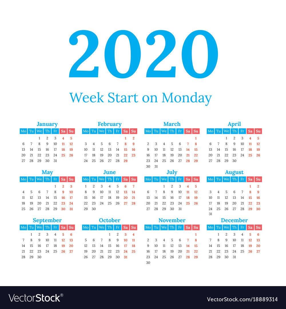 2020 Calendar Start On Monday with regard to 2020 Calendar Starting On Monday