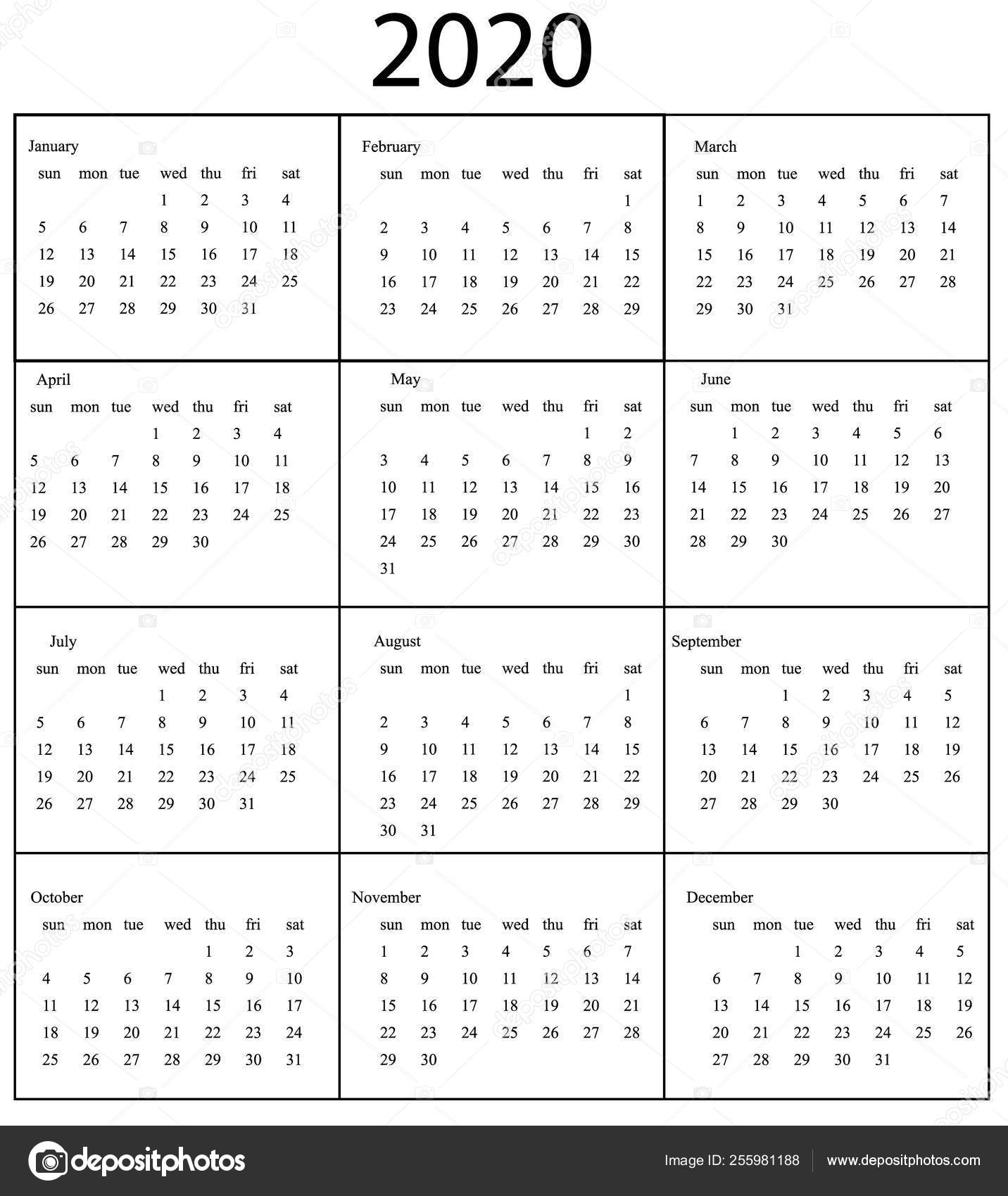 2020 Calendar Template. Starts Sunday — Векторное Изображение pertaining to 2020 Monday - Friday Calendar Printable