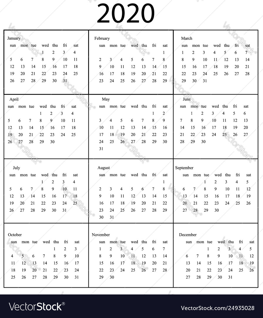 2020 Calendar Template Starts Sunday Year regarding 2020 Calendar Monday To Sunday